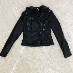 Free People Hooded Black Vegan Leather Jacket